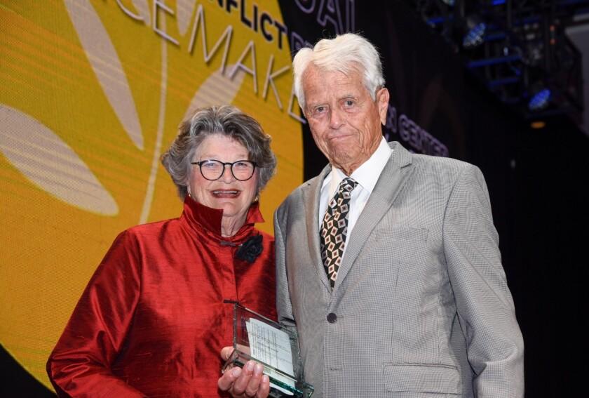 Malin Burnham and Mary Walshok at NCRC peacemaker awards 2019.jpg