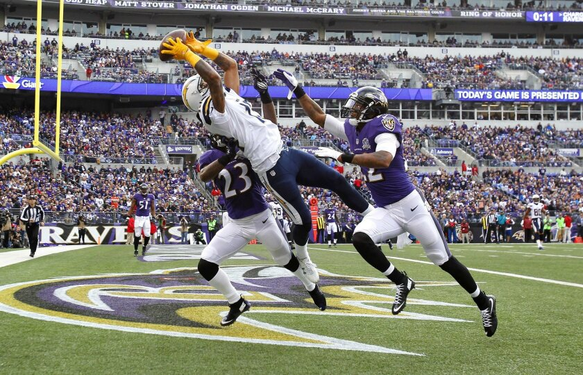 Chargers wide receiver Keenan Allen suffered a lacerated kidney on a touchdown catch against the Baltimore Ravens at M&T Bank Stadium on Nov. 1, 2015. | (K.C. Alfred/ San Diego Union-Tribune