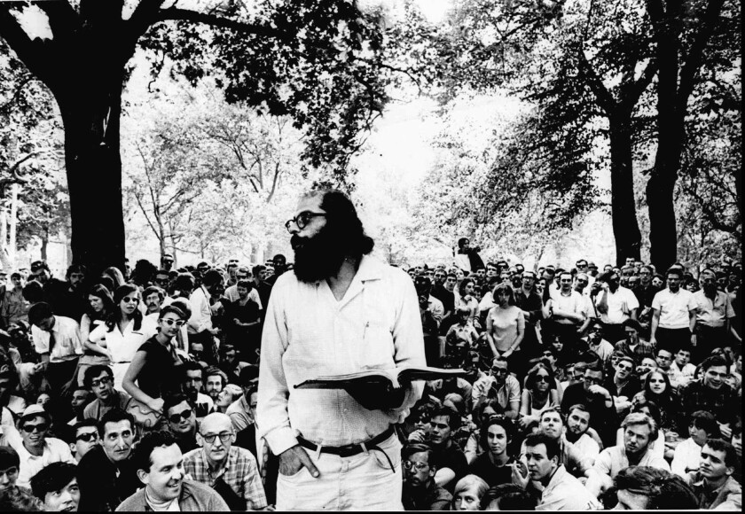 """Allen Ginsberg reads to a crowd in 1966, nine years after the publication of his controversial poem """"Howl."""""""