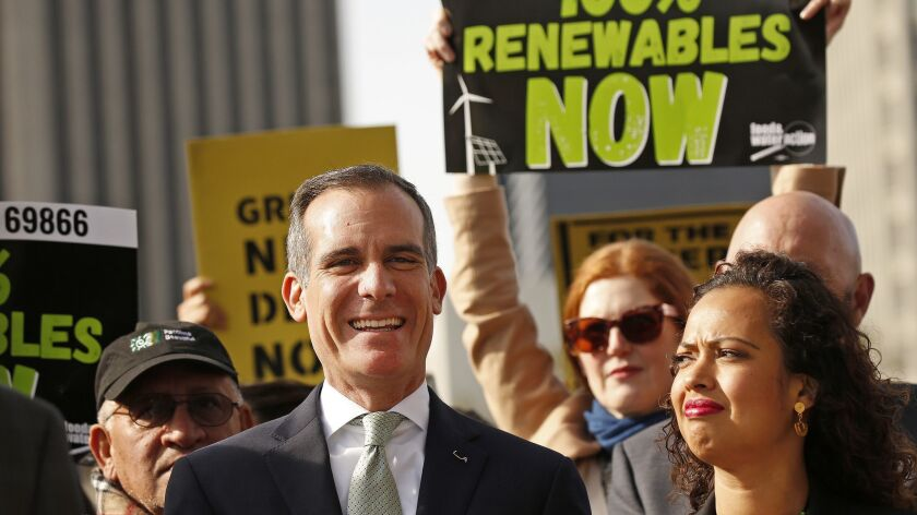 LOS ANGELES, CA - FEBRUARY 12, 2019 Los Angeles Mayor Eric Garcetti, left, with Aura Vasquez, right