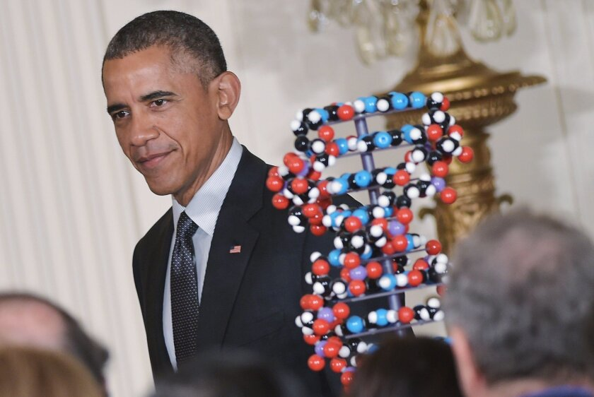 President Barack Obama prepares to announce the federal government's Precision Medicine Initiative on Jan. 30, 2015 at the White House. / photo by AFP
