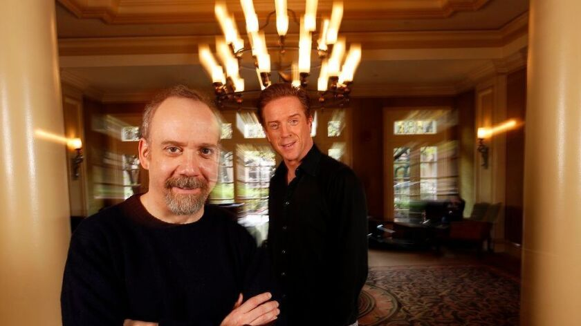 "Paul Giamatti, left, and Damian Lewis star in the second season of Showtime's ""Billions."" Giamatti and Lewis were photographed at the Langham Hotel in Pasadena on Jan. 8."