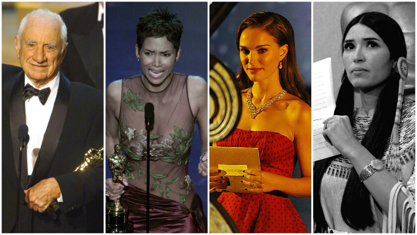 Elia Kazan, from left, Halle Berry, Natalie Portman and Sacheen Littlefeather (Marie Louise Cruz) are among the Oscars' most political speech-makers.