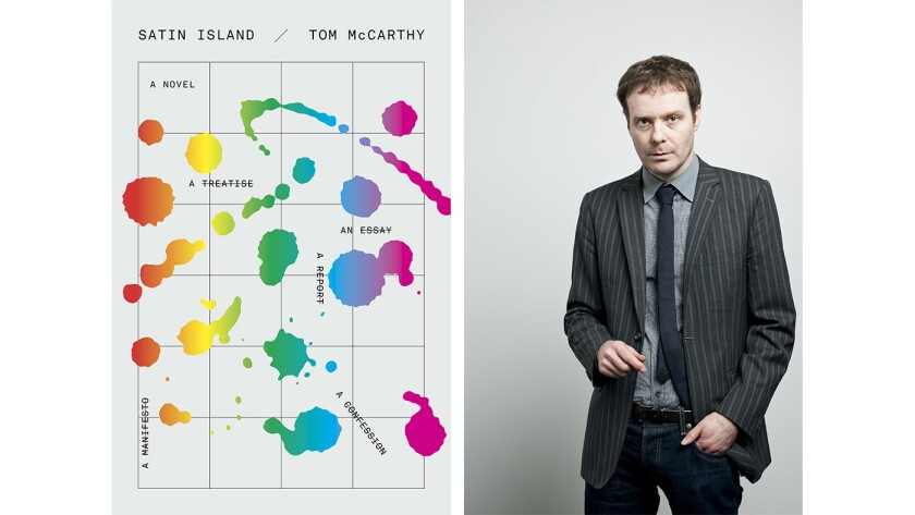 "Author Tom McCarthy and the cover of the book ""Satin Island"""