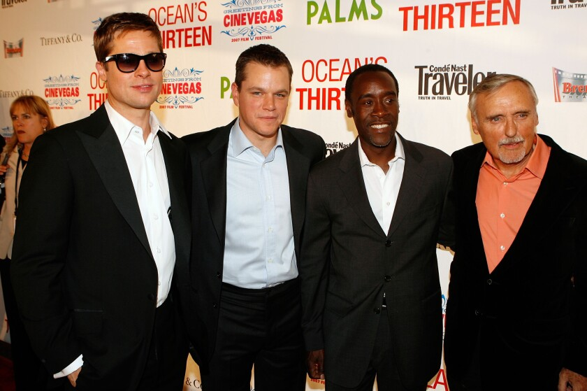 "Actors Brad Pitt, Matt Damon, Don Cheadle and Dennis Hopper appear at the CineVegas opening night premiere of ""Ocean's Thirteen"" on June 6, 2007."