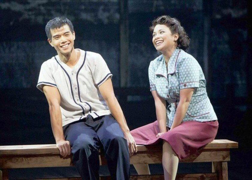 "Telly Leung as Sammy Kimura and Lea Salonga as Kei Kimura in ""Allegiance — A New American Musical"" at The Old Globe."