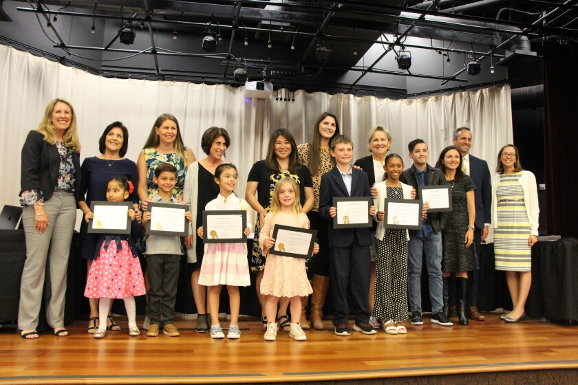 Solana Santa Fe School's Inspiration Award winners with their teachers, SBSD Board President Julie Union (far left), Principal Matt Frumovitz and Assistant Superintendent Sabrina Lee (far right).