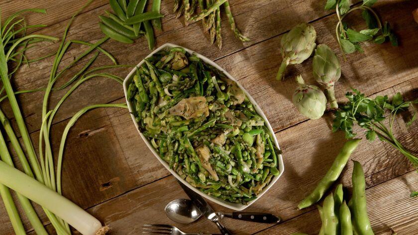 LOS ANGELES, CA., MARCH 22, 2018-- Recipe: a spring saute for Evan Kleiman latest Cucina Italiana co