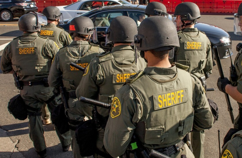 Orange County sheriff's deputies in riot gear in 2017.