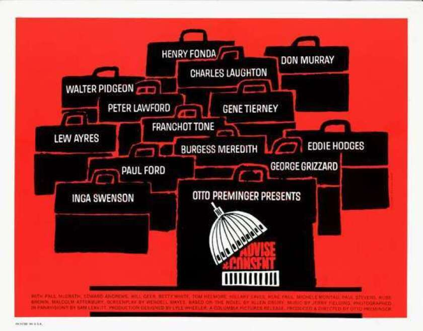 """Artwork by Saul Bass from the film """"Advise and Consent."""""""