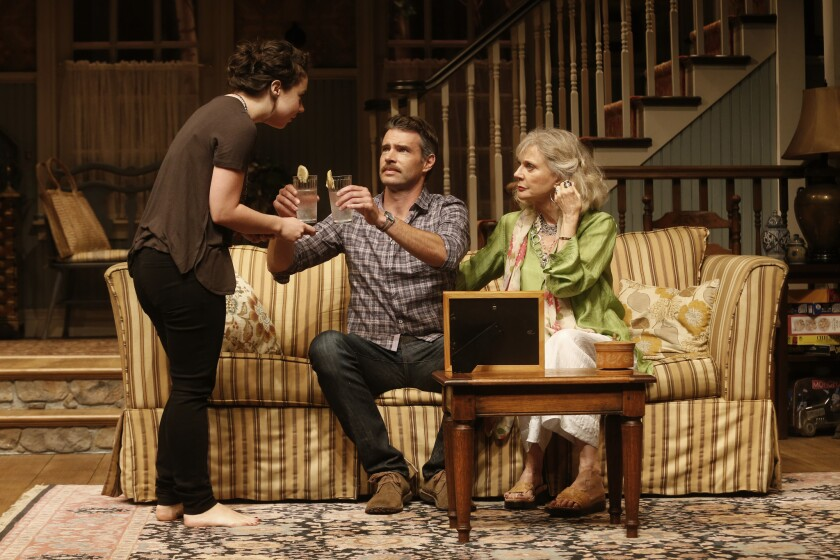 "Sarah Steele, left, Scott Foley and Blythe Danner in ""The Country House"" at the Geffen Theatre."