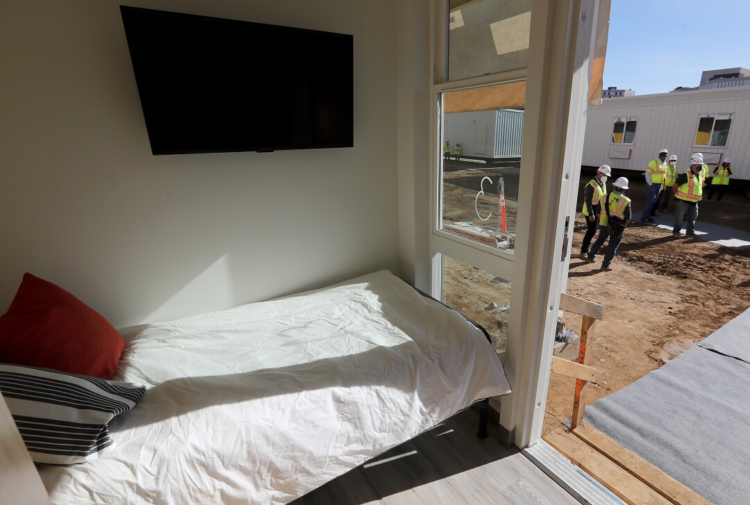 A bedroom in one of the housing units.