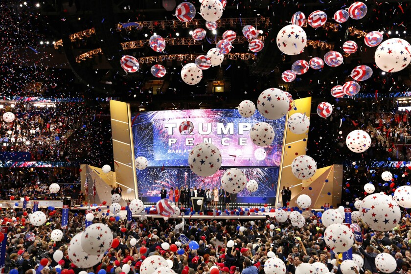 Balloons drop at the end of the the Republican National Convention in Cleveland.