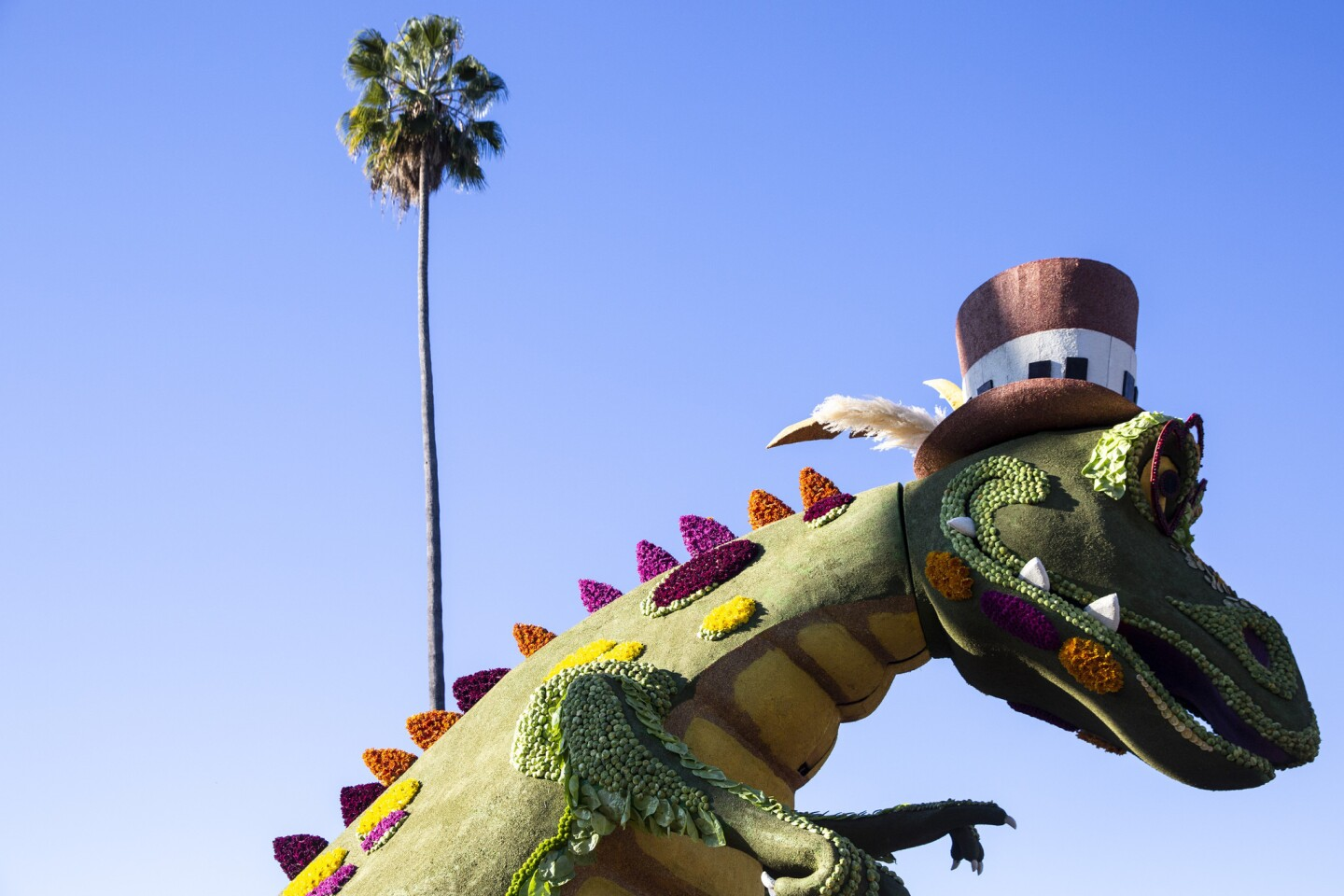 """Service Rocks"" was by the Rotary Rose Parade Float Committee and included a towering crocodile."