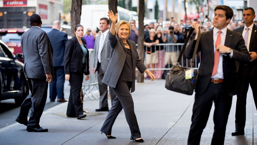 Democratic presidential candidate Hillary Clinton arrives for a taping of The Tonight Show with Jimmy Fallon in New York on Sept. 16.