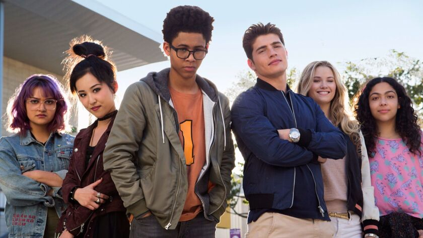 """""""Marvel's Runaways"""" is the story of six diverse teenagers who unite against a common foe, their parents. From left: Ariela Barer, Lyrica Okano, Rhenzy Feliz, Gregg Sulkin, Virginia Gardner and Allegra Acosta."""
