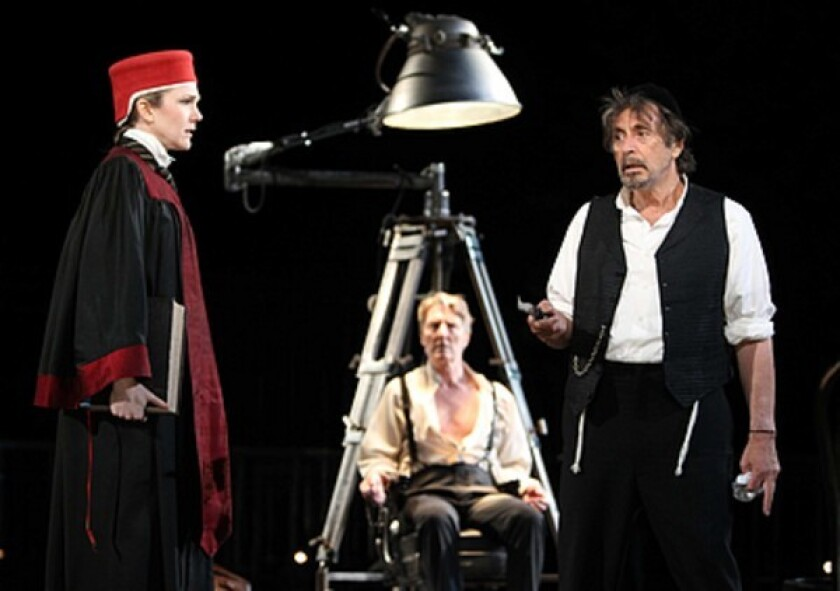 "From left: Lily Rabe, Byron Jennings and Al Pacino in Daniel Sullivan's 2010 Broadway revival of ""The Merchant of Venice"""