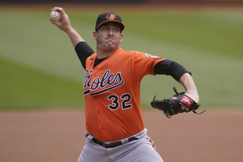 Baltimore Orioles Matt Harvey pitches against the Oakland Athletics during the first inning of a baseball game in Oakland, Calif., Saturday, May 1, 2021. (AP Photo/Jeff Chiu)