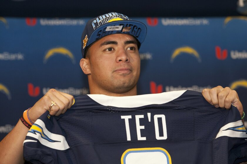 One of the newest players to the San Diego Chargers,Manti Te'o. Teo drafted in the 2nd round was introduced to sports reporters at a press conference held at Chargers Park Saturday afternoon.