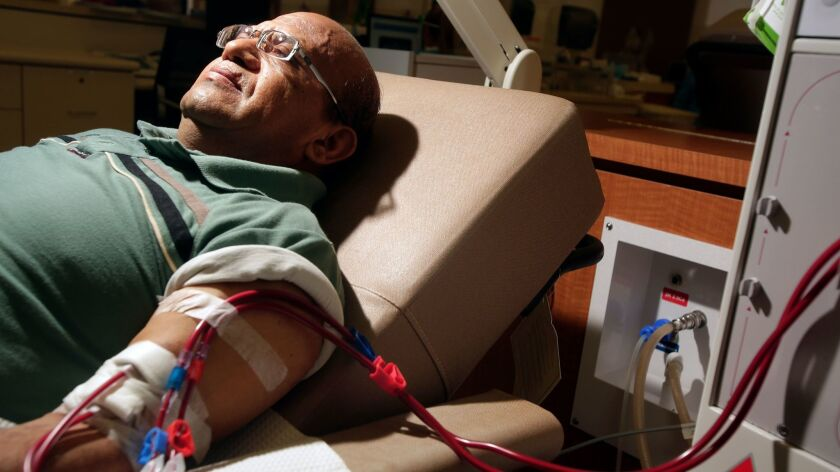 A patient gets dialysis in Inglewood.