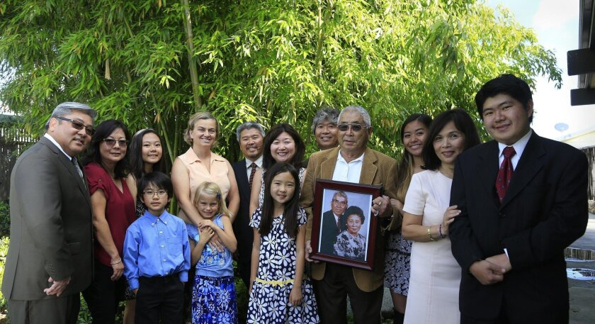 The family of Saburo Muraoka gathered at the Palace Garden Mobile Home Park in Chula Vista on Friday.