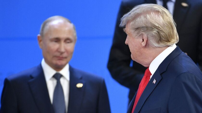 President Trump and Russian President Vladimir Putin on Friday at the G-20 summit in Buenos Aires.