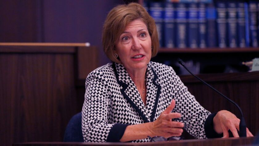SANTA ANA, CALIF. -- WEDNESDAY, JULY 5, 2017: OC Sheriff Sandra Hutchens answers questions from Ass