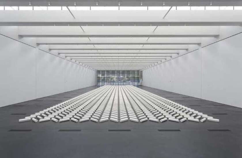 "Walter De Maria's ""The 2000 Sculpture"" on view at LACMA in 2012."