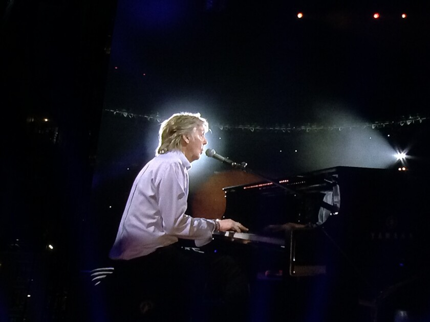 Paul McCartney alternated between grand piano, bass, guitar and upright piano at his Saturday concert at Petco Park.