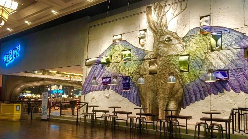 A mythical jackalope greets guests as they arrive at Libertine Social inside Mandalay Bay.