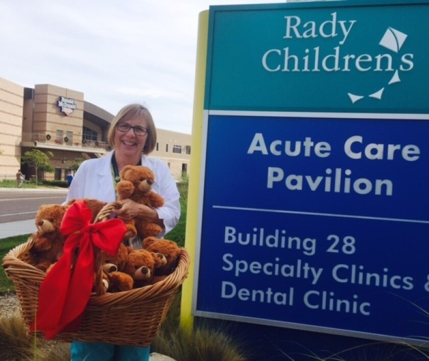 The first delivery of Awesome Ollie the ostomy bear at Rady Children's last year.