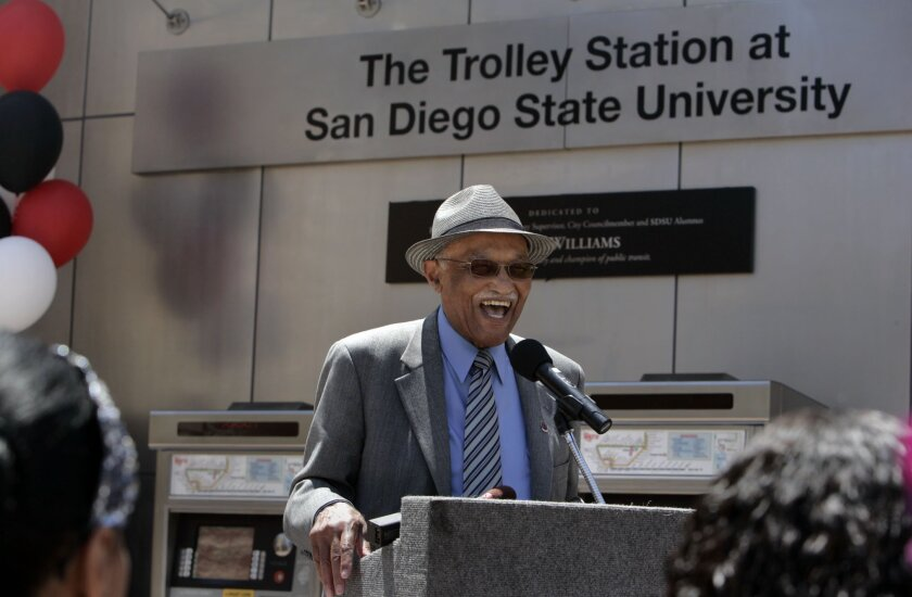 Leon Williams at a ceremony in 2011 which the SDSU Trolley Station was dedicated to him.