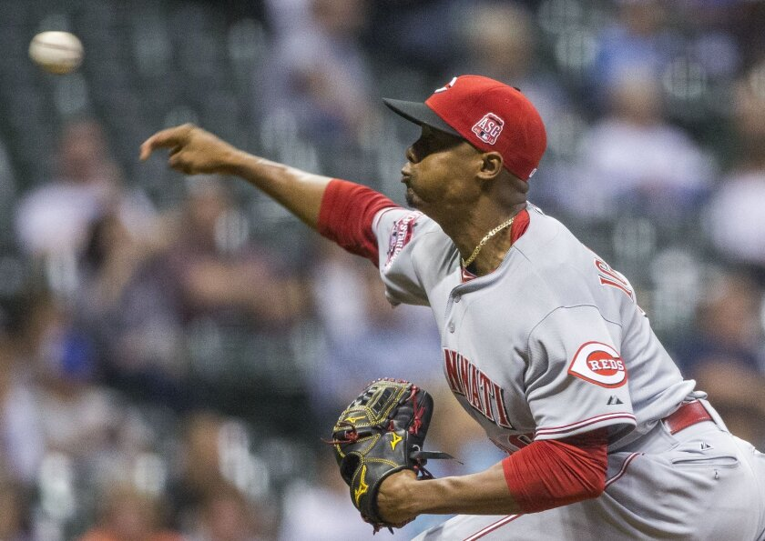 Cincinnati Reds' Raise Iglesias pitches to a Milwaukee Brewers batter during the first inning of a baseball game Friday, Aug. 28, 2015, in Milwaukee. (AP Photo/Tom Lynn)
