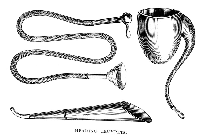 Vintage engraving of Victorian hearing trumpets