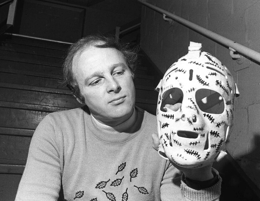 Boston Bruins goalie Gerry Cheevers shows off his now legendary mask in May 1976.