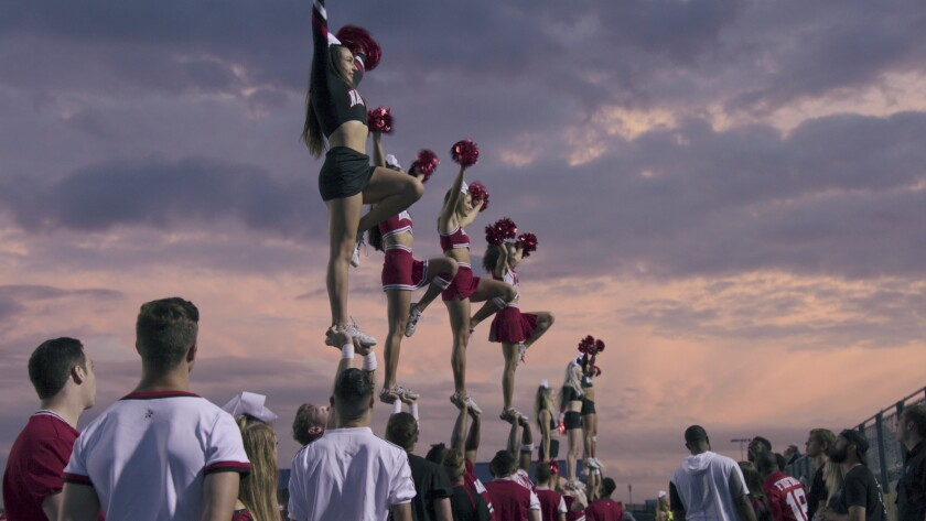 """Navarro College cheer squad in action in the Netflix documentary """"Cheer."""""""