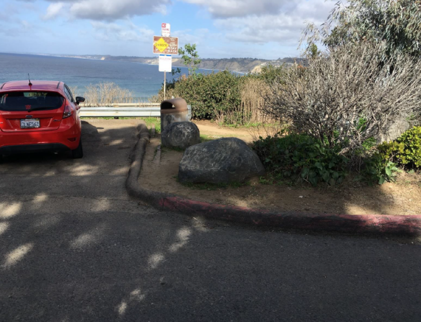 The parking area at the end of La Jolla's Coast Walk, where the city of San Diego plans to put a turnaround for cars.