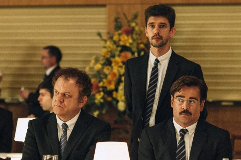 "John C. Reilly, from left, Ben Whishaw and Colin Farrell in ""The Lobster."""