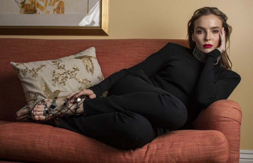 """Actress Jodie Comer, who plays the sociopathic assassin trying to hunt down British intelligence agent Eve Polastri (Sandra Oh) in the BBC America drama """"Killing Eve."""""""