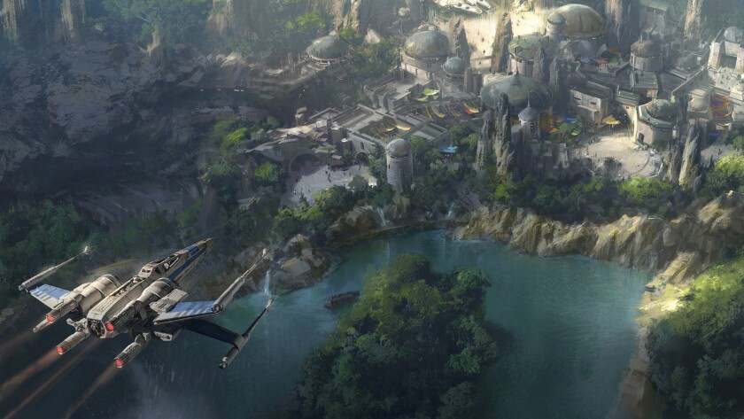 If you're going, bring money. An artist's conception shows the Star Wars-themed section of Disneyland, due to open in the next few years.
