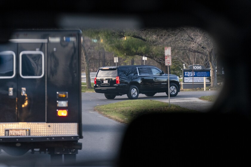 A motorcade with President-elect Joe Biden aboard arrives at Delaware Orthopaedic Specialists to see a doctor on Sunday.