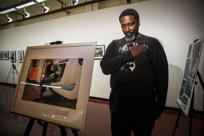 Photographer Lelund Nathaniel Hollins, who is homeless