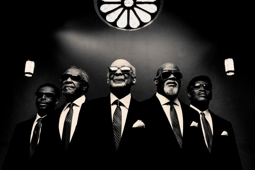 Jimmy Carter, center, co-founded The Blind Boys of Alabama in 1939. The current edition of the legendary gospel-music group, which has earned multiple Grammy Awards, performs Sunday the Belly Up with Nicki Bluhm.