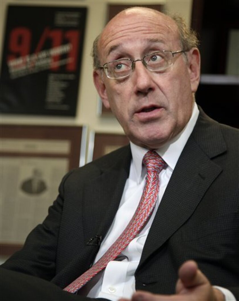 BP oil spill fund administrator Kenneth Feinberg is interviewed in his office, Monday, Sept. 27, 2010, in Washington. (AP Photo/Carolyn Kaster)