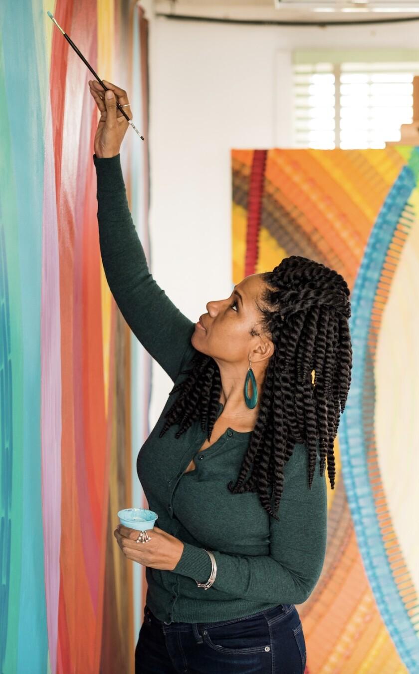 "Artist June Edmonds designed the new Murals of La Jolla work, ""Ebony on Draper and Girard."""