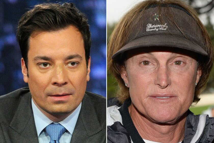 Jimmy Fallon, left, and Bruce Jenner got together Tuesday night on Fallon's show.