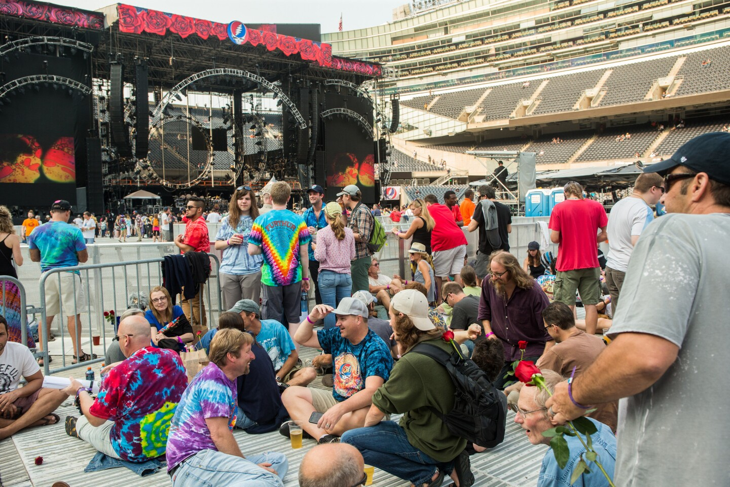 Fans wait by the stage at the Grateful Dead concert at Soldier Field in Chicago on July 3, 2015.