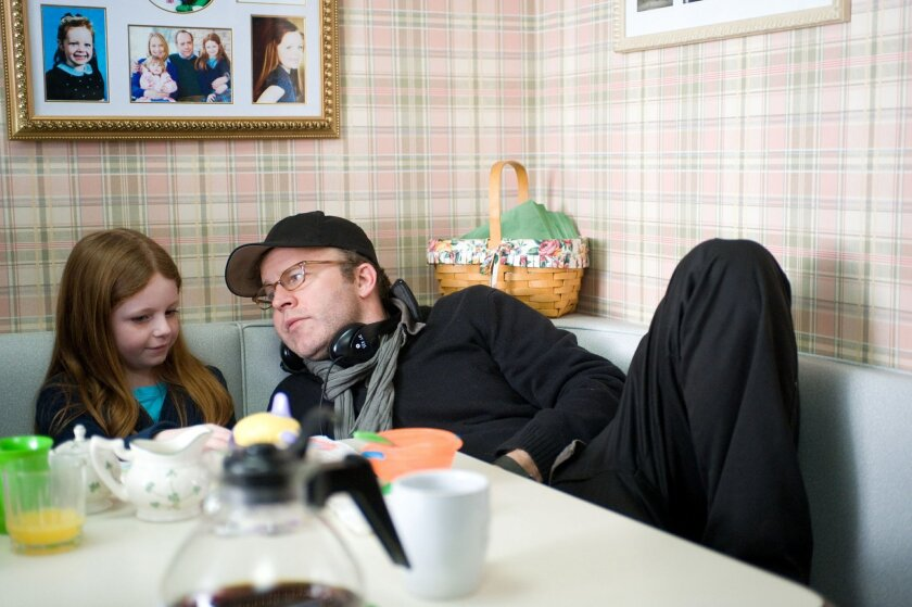 Clare Foley II and Director Tom McCarthy on the set of WIN WIN.  Kimberly Wright