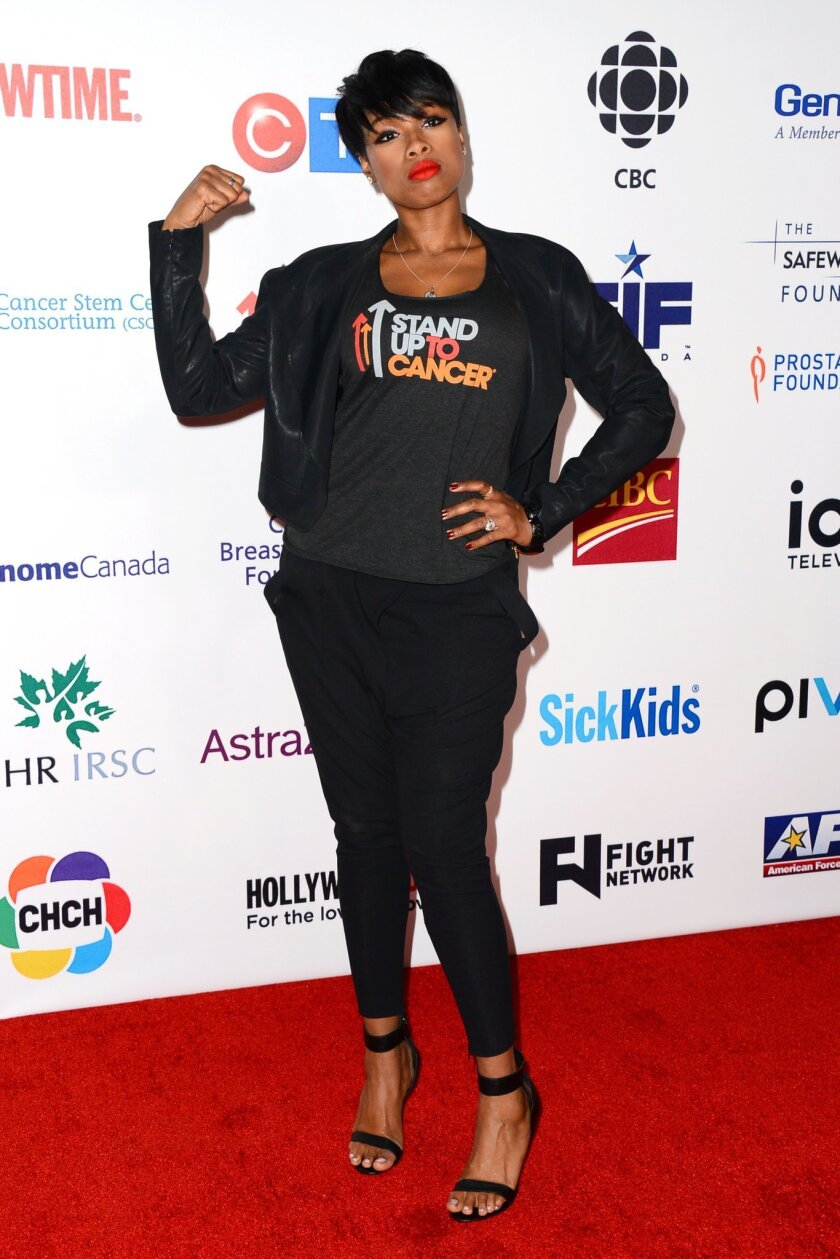 Jennifer Hudson arrives at the 4th Annual Stand Up 2 Cancer Live Benefit at The Dolby Theatre on Friday, Sept. 5, 2014, in Los Angeles. (Photo by Jordan Strauss/Invision/AP)