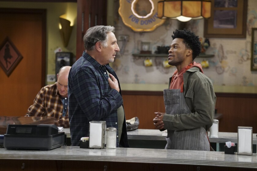 "David Koechner as Tush, left, Judd Hirsch as Arthur and Jermaine Fowler as Franco in ""Superior Donuts."""